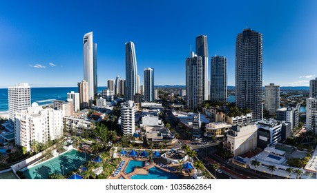 Aerial view of Gold Coast at sunrise