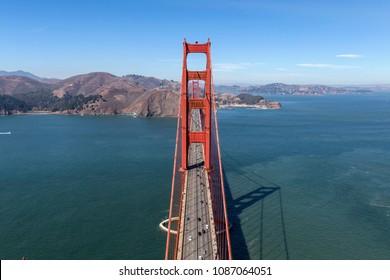 Aerial view of Golden Gate Bridge and Marin Headlands near San Francisco, California.