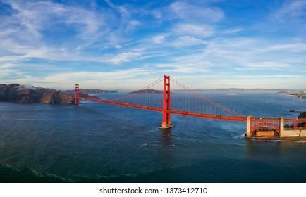 Aerial view of Golden Gate bridge in San Francisco, USA