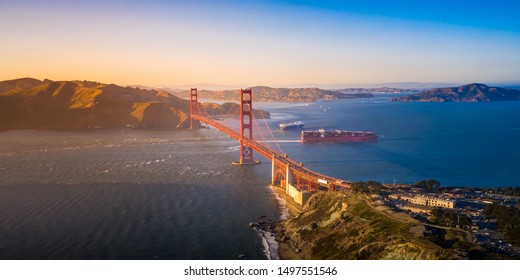 Aerial View of the Golden Gate Bridge at Sunset, San Francisco, California, USA