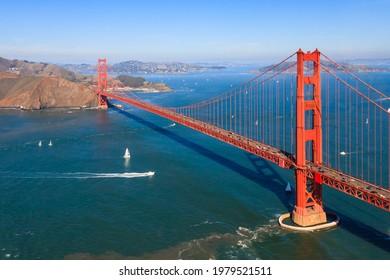 Aerial view of Golden Gate Bridge, San Francisco.