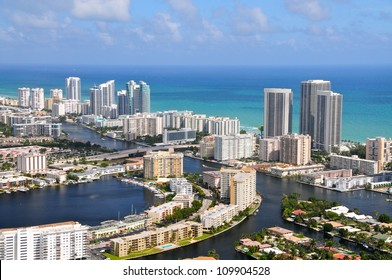 Aerial view of Golden Isles Lake, Golden Isles, Miami, Florida, USA