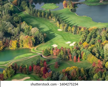 aerial view of a golf in autumn