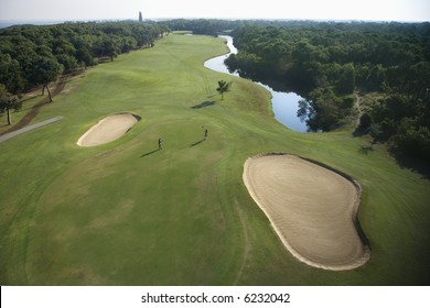 Aerial view of golf course in coastal residential community at Bald Head Island, North Carolina.