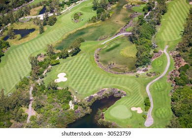 Aerial view of golf course in luxury resort in Mauritius