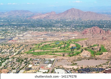 Aerial View of a Golf Course and Mountain Range in Phoenix, Arizona