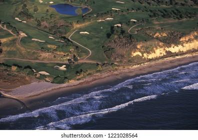Aerial view of a golf course on the coast of Santa Barbara, California, USA.