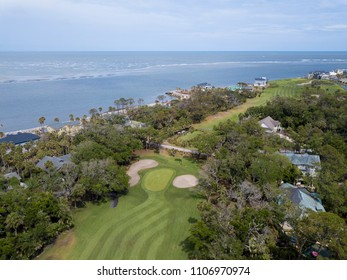 Aerial view of golf course and resort community on Fripp Island, South Carolina.