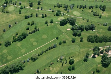 aerial view of a golf course taken from an airplane