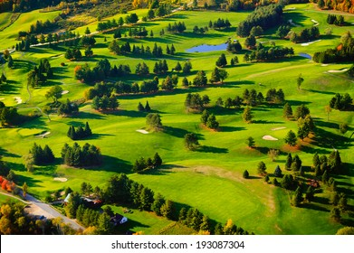 Aerial view of golf course,  Vermont, USA