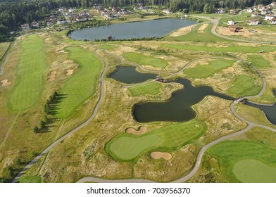Aerial view - Golf courses in the suburbs of Moscow, Russia.