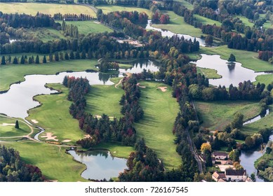 Aerial view of a golf at Nantilly at the west of Paris