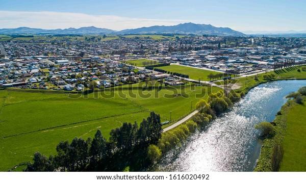 Aerial view of Gore, New Zealand looking toward Hokonui Hills