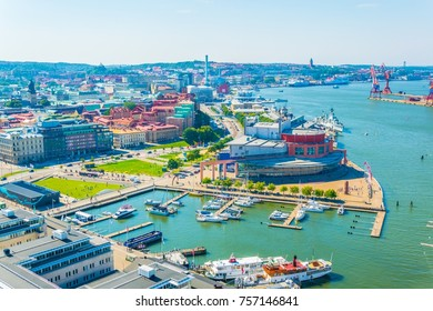 Aerial view of the goteborg opera building situated next to a marina in Sweden