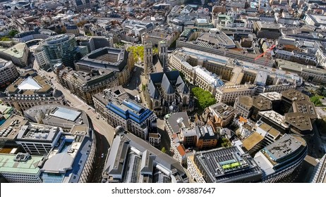 Aerial View of Gothic Brabant Church In Brussels