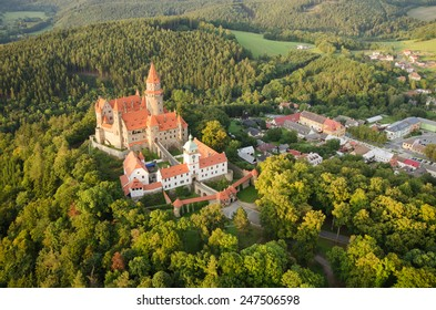 Aerial view of the gothic castle Bouzov, Czech Republic