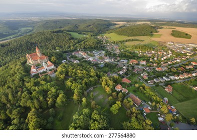 Aerial view of the gothic castle and village Bouzov, Czech Republic