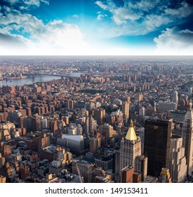 Aerial view of Gramercy and East Village at sunset, New York City.