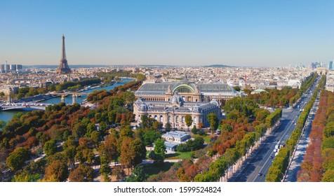 Aerial view of Grand Palais des Champs-Élysées and Paris cityscape