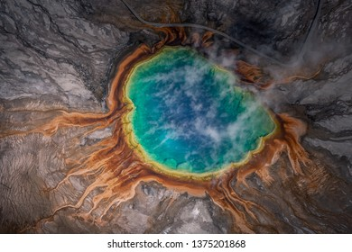 Aerial view of Grand prismatic spring in Yellowstone national park, Taken from a small plane, Wyoming, USA