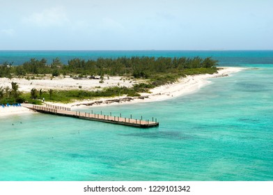 The aerial view of Grand Turk Island beach, tourist destination in Caribbean (Turks and Caicos Islands).
