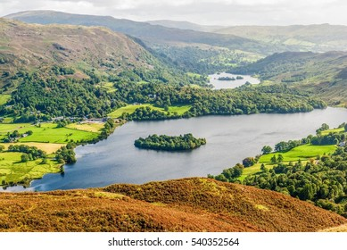 An aerial view of Grasmere from the slopes of Silver Howe. English Lake District National Park