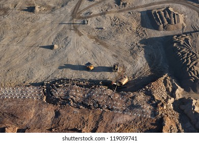 Aerial view of gravel quarry in Lithuania, Europe.
