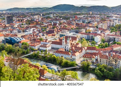 Aerial View Of Graz City Center - Graz, Styria, Austria, Europe