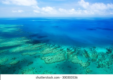 Aerial view of a great barrier reef