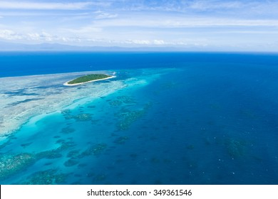 Aerial view of Great Barrier Reef with Green Island, Queensland, Australia
