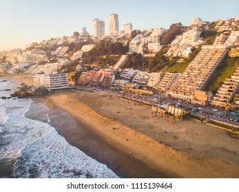 Aerial view of a great beach at sunset