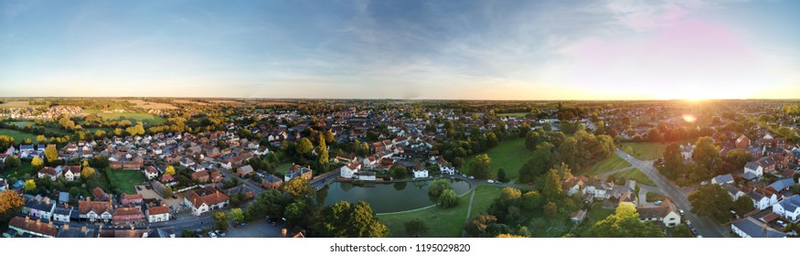 Aerial view of Great Dunmow with parks and town duckpond.  Stunning small town in Essex near Bishops Stortford and Stansted Airport.
