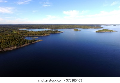 Aerial View of Great Lake Islands Woods Copyspace