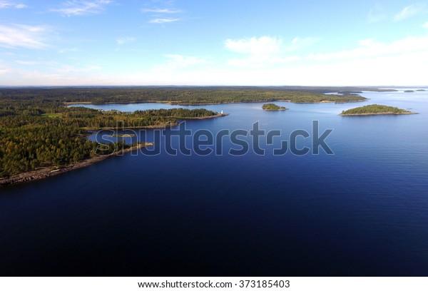 Aerial View of Great Lake Islands Woods Copyspace