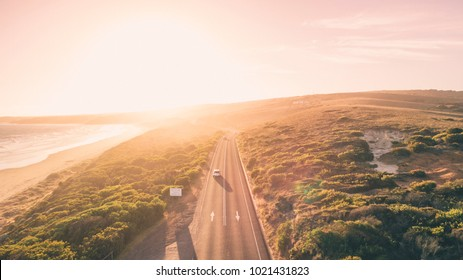 Aerial View of Great Ocean Road at Sunset, Victoria, Australia