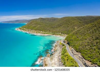 Aerial view of Great Ocean Road in Australia