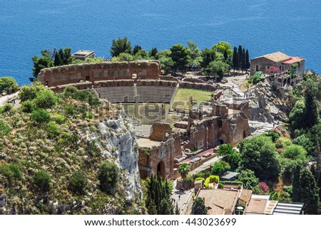 Aerial view of the Greek Theatre of Taormina Sicily