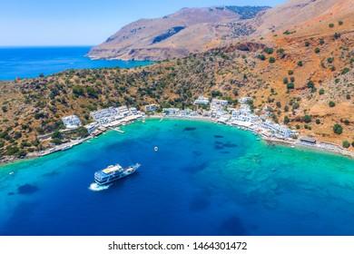 Luftbild des griechischen Dorfes Loutro, Chania, Kreta, Griechenland.