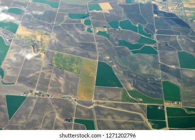 aerial view of the green field in country area