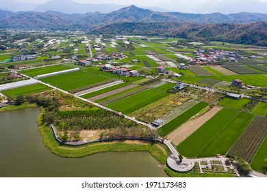 The aerial view of green field in South Taiwan, Mino. Square and green field and famous Hakka country in South Taiwan. Meinong Kaohsiung