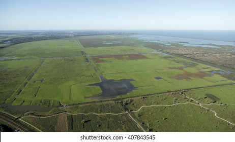 Aerial view of the green fields in the nature reserve area Oostvaardersplassen between Almere and Lelystad in The Netherlands. On the horizon the city of Almere and lake Markermeer.