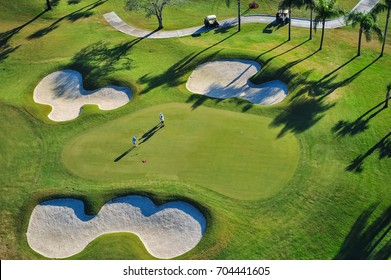 aerial view of green florida community golf course
