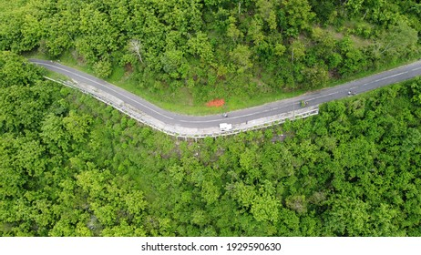 Aerial view of green forest with top view car accross the road, Ecosystem and healthy environment concepts and background.
