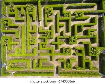 Aerial view of Green maze garden