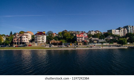 Aerial view of the green picturesque town on the shore of the lake. Ternopil. Ukraine