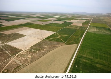 Aerial view of a green rural area under blue sky. Konya