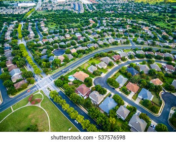 aerial view of green summer time landscape Austin Texas USA homes and suburbia development outside of Round Rock in central Texas