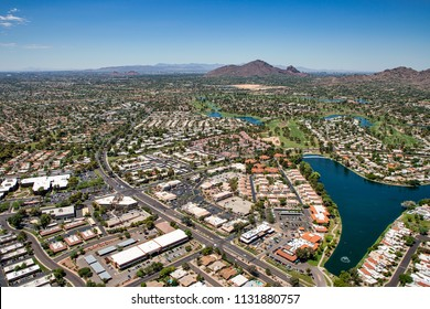 Aerial view of the Greenbelt in Scottsdale, Arizona looking to the southwest at Camelback Mountain and skylines of Phoenix and Tempe.