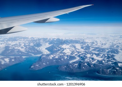 Aerial view of Greenland east coast from a transatlantic plane
