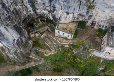 Aerial view of the Grotto of Maria Magdalena in France, Plan D'Aups, the massif St.Baum, holy fragrance, famous place among religious believers, the Monastery of Dominican Friars - Shutterstock ID 1687934890